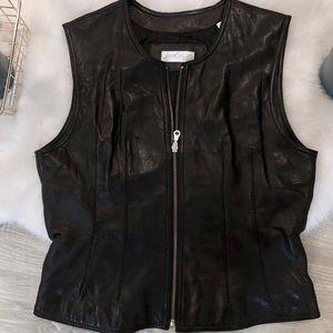 Vintage Lord &Taylor - Real Leather Black Zip Vest